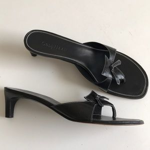 Cole Haan leather healed black thong sandals